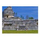 Family of tourists walk past ancient Mayan Postcard