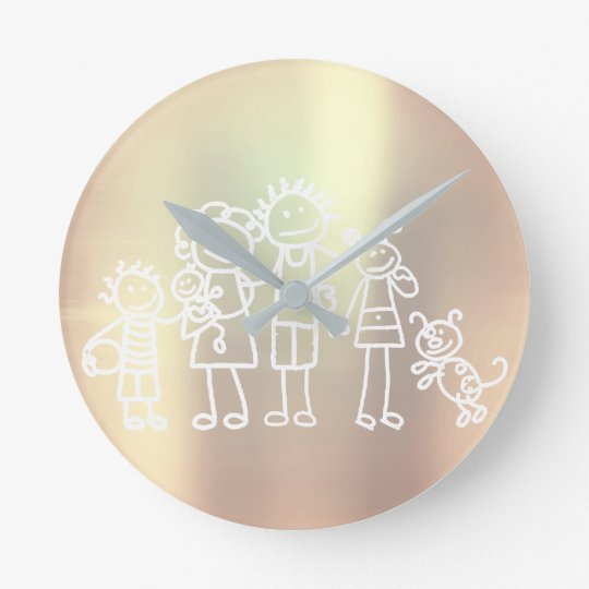 Family Pearly Metallic Blush Pink Rose Gold Clocks