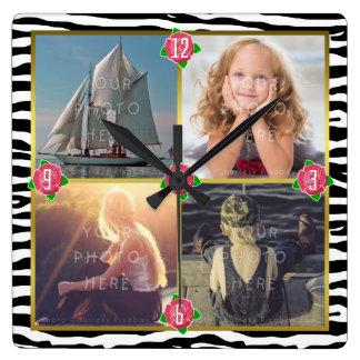 Family Photo Add 4 Custom Pictures | Zebra Roses Wall Clocks