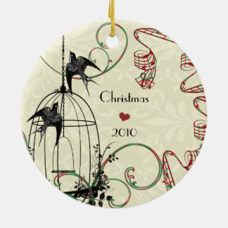 Family Photo Birds & Bird Cage on Damask Christmas Ornament