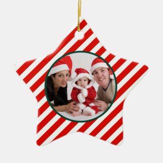 Family Photo Candy Cane Star Christmas Ornament