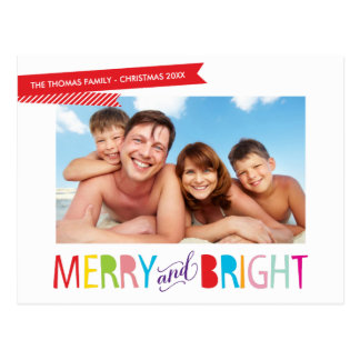 FAMILY PHOTO CHRISTMAS modern type merry & bright Postcards