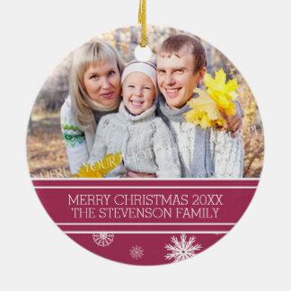 Family Photo Christmas Ornament Burgundy Snow