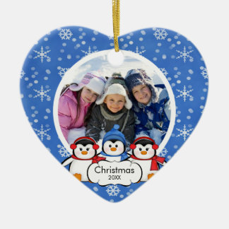Family Photo Christmas Ornament Cute Penguins