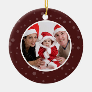 Family Photo Christmas Ornament Maroon Dots