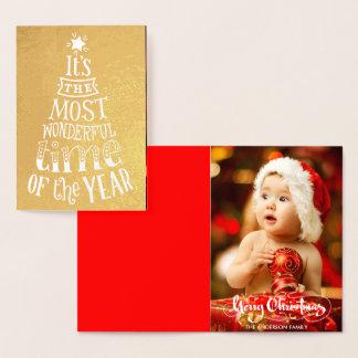 Family Photo Christmas Script Gold Foil Card
