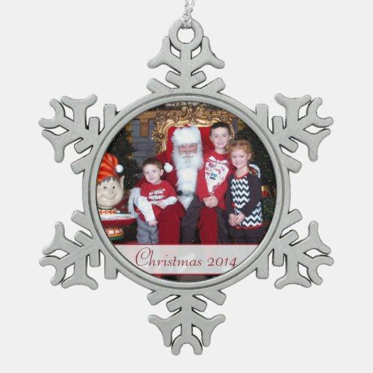 Family Photo Christmas Snowflake Ornament