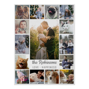 Family Photo Collage 15 Pictures + Name Grey White Poster