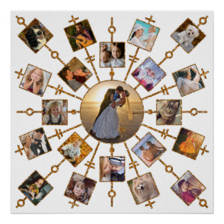 Family Photo Collage 21 Pictures Pretty White Gold Poster