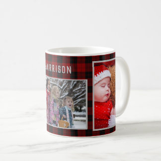 Family Photo Collage 3 Pictures Red Plaid Easy DIY Coffee Mug