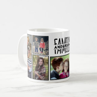 Family Photo Collage 9 Pictures Add Name Easy DIY Coffee Mug
