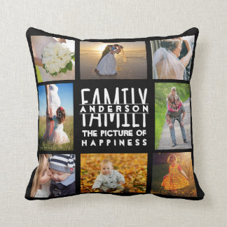 Family Photo Collage Add Name Template | 16 Pics Throw Pillow