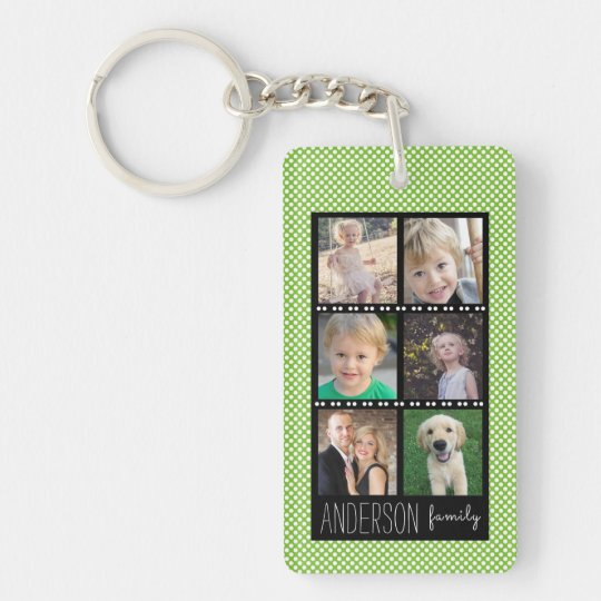 Family Photo Collage Green White Dots Personalised Key Ring