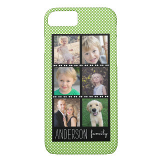 Family Photo Collage Green with White Dots iPhone 8/7 Case