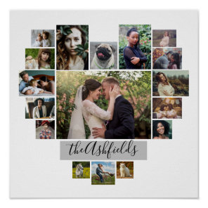 Family Photo Collage Heart 17 Pictures Name White Poster