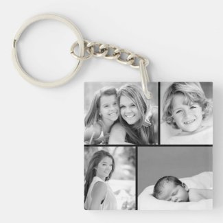 Family Photo Collage Keyring