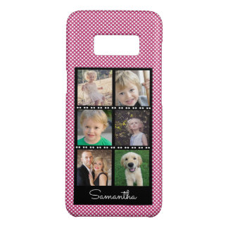 Family Photo Collage Pink & White Dots Personalize Case-Mate Samsung Galaxy S8 Case