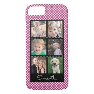 Family Photo Collage Pink with White Dots iPhone 8/7 Case