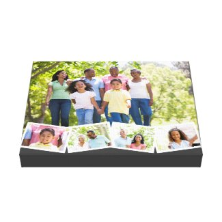 Family Photo Collage Zigzag Photo Strip Dark Grey Canvas Print