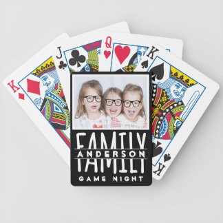 Family Photo | Custom Name Modern Black Game Night Bicycle Playing Cards