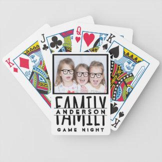 Family Photo   Custom Name Modern White Game Night Bicycle Playing Cards