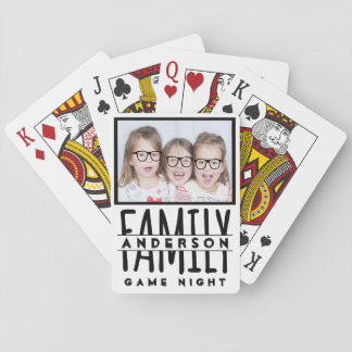 Family Photo | Custom Name Modern White Game Night Playing Cards
