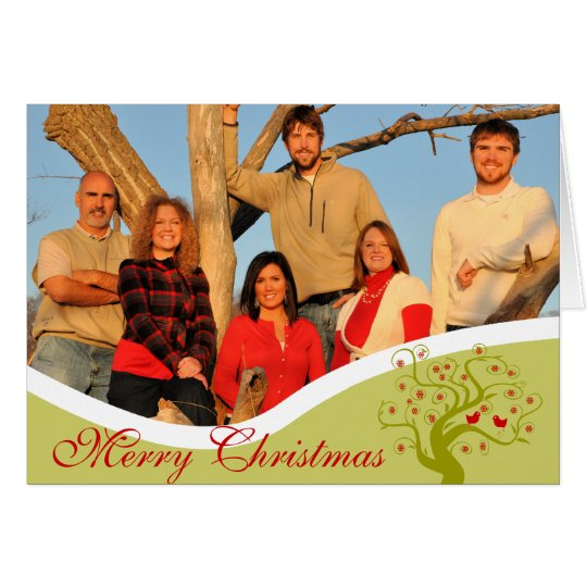 Family Photo Cute Birds Lime Christmas Tree Card