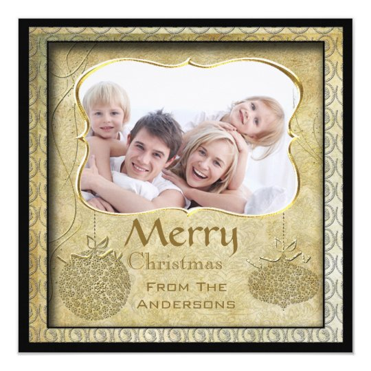 Family Photo Gold Metallic Christmas Holiday Cards