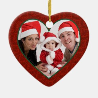 Family Photo Heart Frame Christmas Ornament