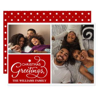 Family Photo Holiday Snowflakes Christmas Card