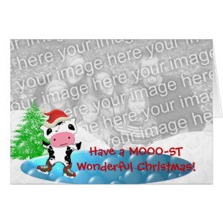 Family Photo Merry Christmas Kawaii Dancing Cow Card