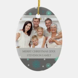 Family Photo Merry Christmas Ornament Grey Aqua
