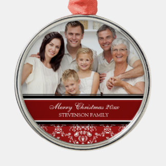 Family Photo Merry Christmas Ornament Red