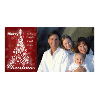 Family Photo Modern Circle Christmas Tree Photo Card