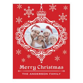 Family Photo Ornament Christmas Postcard