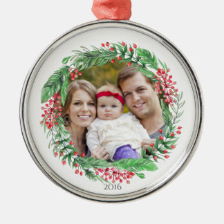 Family Photo Ornament with Year | Holiday Wreath