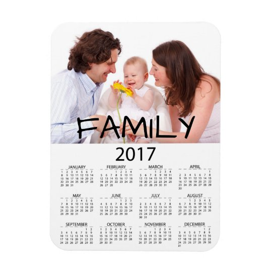 Family Photo Perosnalized 2017 Calendar Magnet