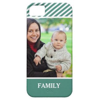 Family Photo Personalized - Stylish Green Stripes Barely There iPhone 5 Case