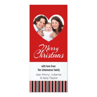 Family Photo Red Merry Christmas Heart 4x9.25 Paper Invitation Card