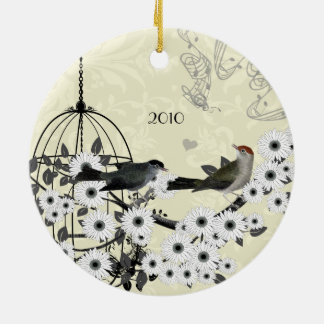 Family Photo Vintage Birds & Bird Cage on Damask Christmas Ornament