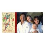 Family Photo Vintage Hummingbird Happy Holiday Customised Photo Card