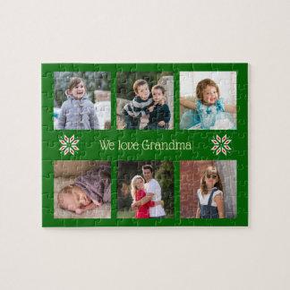 Family photos custom text green frame christmas jigsaw puzzle