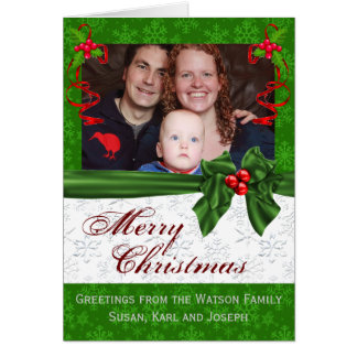 Family portrait Green Christmas Greeting Card