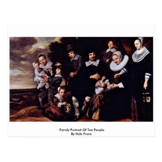 Family Portrait Of Ten People By Hals Frans Postcard