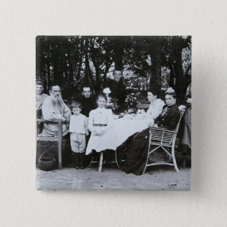 Family portrait of the author Leo N. Tolstoy 15 Cm Square Badge