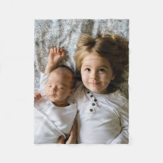 Family Portrait Photo Fleece Blanket