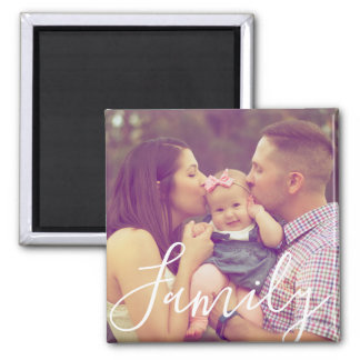 Family Portrait Photo Magnet with Text Option