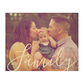 Family Portrait Photo with Text Option Wood Print