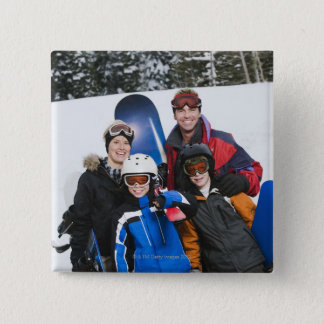 Family portrait with snowboards 15 cm square badge