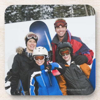 Family portrait with snowboards coaster